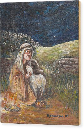 Wood Print featuring the painting Quiet Night by George Richardson