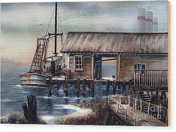 Quiet Pacific Dockside Wood Print