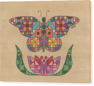 Quilted Butterfly Wood Print
