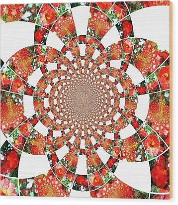 Wood Print featuring the digital art Quilted Flower by Amanda Eberly-Kudamik