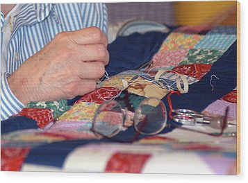 Wood Print featuring the photograph Quilter's Hands by Wanda Brandon