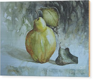 Wood Print featuring the painting Quince... by Elena Oleniuc