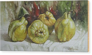 Wood Print featuring the painting Quinces by Elena Oleniuc