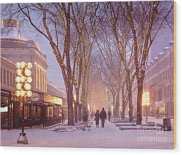 Quincy Market Stroll Wood Print by Susan Cole Kelly