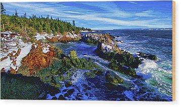 Quoddy Coast With Snow Wood Print