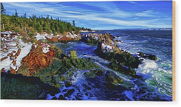 Quoddy Coast With Snow Wood Print