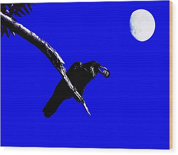 Quoth The Raven Nevermore . Blue Wood Print by Wingsdomain Art and Photography