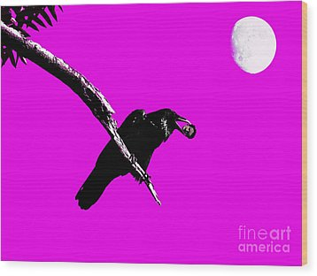 Quoth The Raven Nevermore . Magenta Wood Print by Wingsdomain Art and Photography