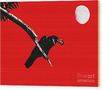 Quoth The Raven Nevermore . Red Wood Print