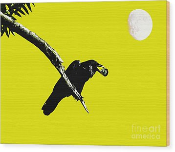 Quoth The Raven Nevermore . Yellow Wood Print by Wingsdomain Art and Photography