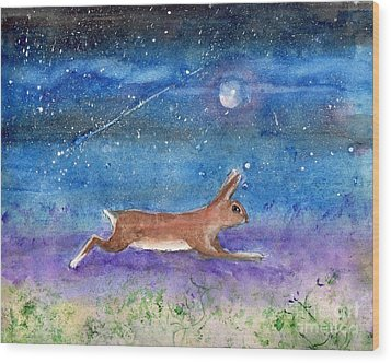 Wood Print featuring the painting Rabbit Crossing The Galaxy by Doris Blessington