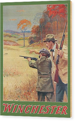 Rabbit Hunting Wood Print by George Brehm