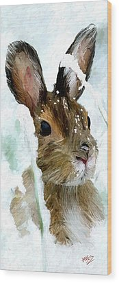 Wood Print featuring the painting Rabbit In Snow by James Shepherd