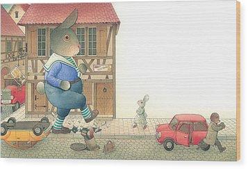 Rabbit Marcus The Great 19 Wood Print by Kestutis Kasparavicius