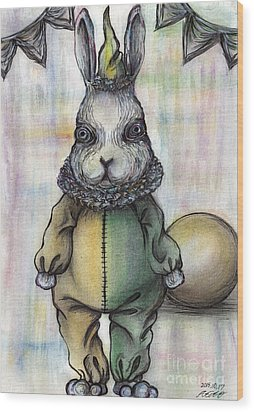 Rabbit Pierrot Wood Print