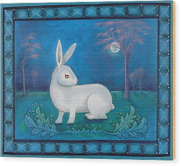 Wood Print featuring the painting Rabbit Secrets by Terry Webb Harshman