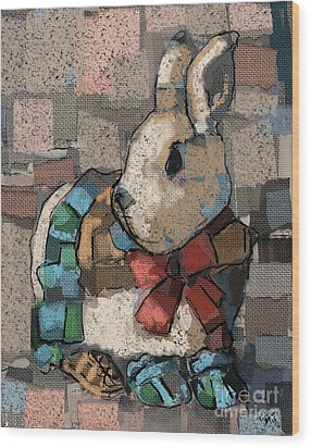 Wood Print featuring the painting Rabbit Socks by Carrie Joy Byrnes