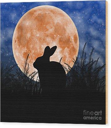 Rabbit Under The Harvest Moon Wood Print by Elizabeth Alexander