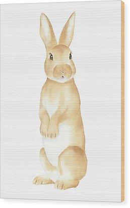 Rabbit Watercolor Wood Print by Taylan Apukovska