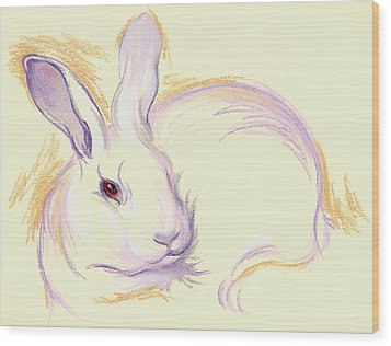 Wood Print featuring the pastel Rabbit With A Red Eye by MM Anderson