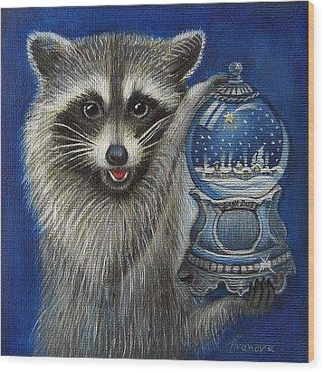 Raccoon - Christmas Star Wood Print by Temenuga Ivanova
