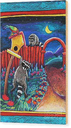 Raccoon Trouble Wood Print by Harriet Peck Taylor