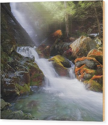 Wood Print featuring the photograph Race Brook Falls 2017 Square by Bill Wakeley