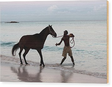 Race Horse And Groom 1 Wood Print by Barbara Marcus