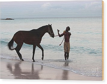 Race Horse And Groom 2 Wood Print by Barbara Marcus