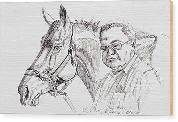 Race Horse And Owner Wood Print by Nancy Degan