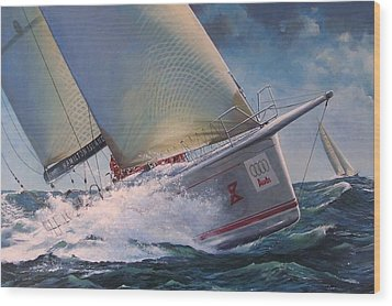 Race To The Finish - Wild Oats X Wood Print by Colin Parker