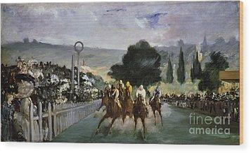 Races At Longchamp Wood Print by Edouard Manet