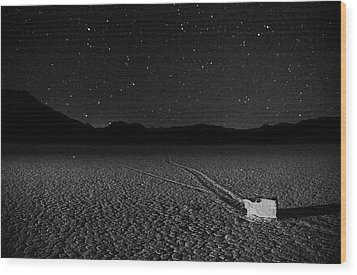 Wood Print featuring the photograph Racing Across The Playa At Night by Peter Thoeny