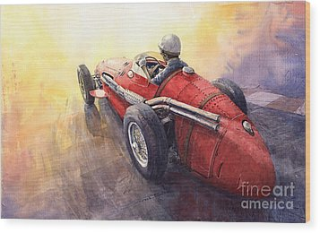 Racing Light Maserati 250 F Wood Print by Yuriy  Shevchuk