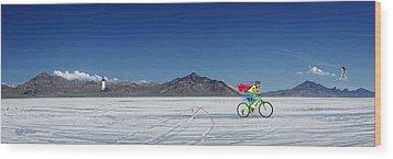 Racing On The Bonneville Salt Flats Wood Print