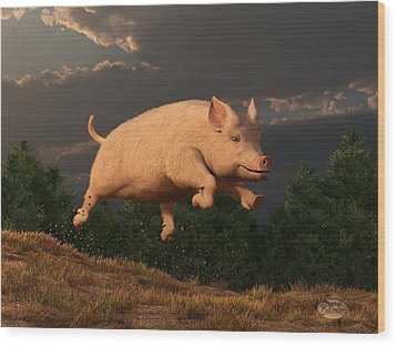 Racing Pig Wood Print by Daniel Eskridge