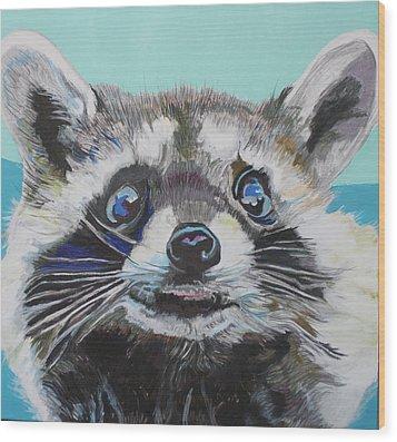 Racoon Wood Print by Jamie Downs