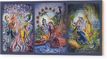 Radha Krishna Cosmic Leela Wood Print