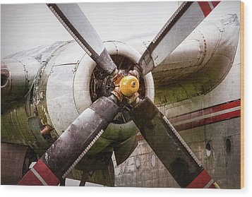 Wood Print featuring the photograph Radial Engine And Prop - Fairchild C-119 Flying Boxcar by Gary Heller