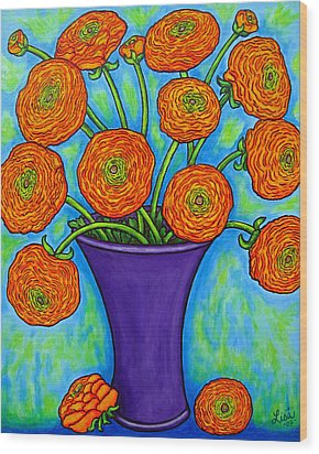 Radiant Ranunculus Wood Print by Lisa  Lorenz