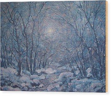 Radiant Snow Scene Wood Print