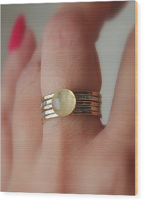 Radiating Moonstone Cabochon Sterling Silver And 14k Gold Filled Artisan Crafted Stackable Rings Wood Print by Nadina Giurgiu