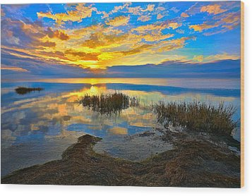 Radical Sunset Over Pamlico Sound Outer Banks Wood Print