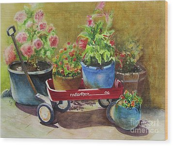Radio Flyer Wood Print by Karen Fleschler
