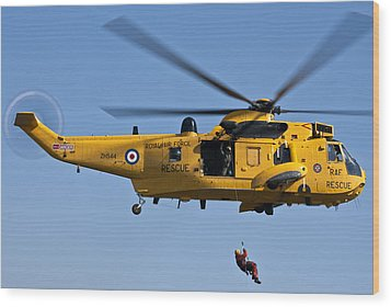 Raf Sea King Search And Rescue Helicopter 2 Wood Print
