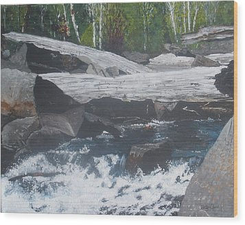 Wood Print featuring the painting Ragged Falls by Betty-Anne McDonald