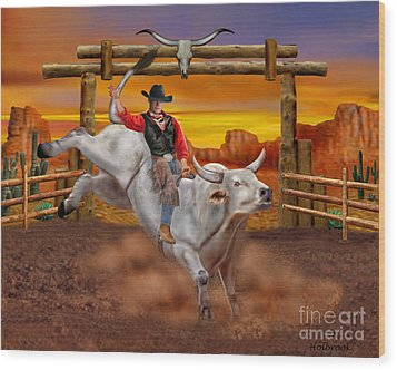Ride 'em Cowboy Wood Print by Glenn Holbrook