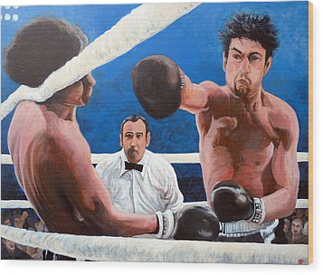 Raging Bull Wood Print