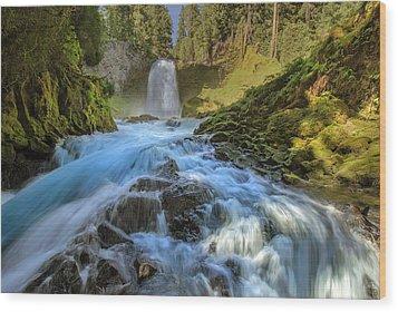 Raging Sahalie Falls Wood Print by David Gn