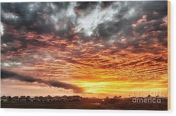 Raging Sunset Wood Print